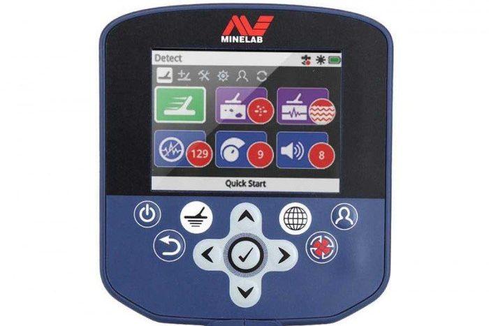 Menu screen on GPZ 7000 metal detector